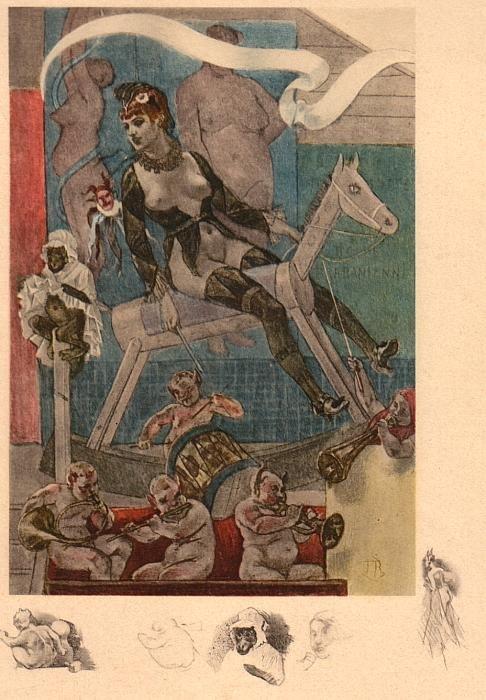 Женщина на детской лошадке. 1870 г.