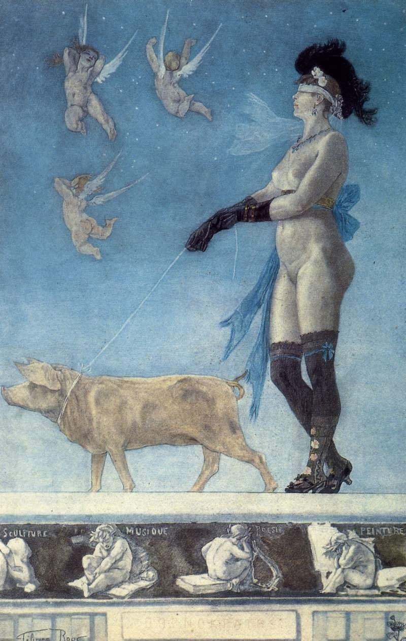 Порнократия. 1896 г. Гуашь, пастель, акварель, бумага.75 x 45 см