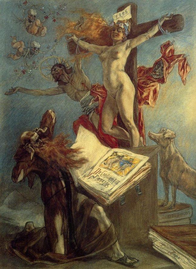 Искушение Святого Антония. 1878 г. Пастель.Королевская библиотека Бельгии, Брюссель, Бельгия.
