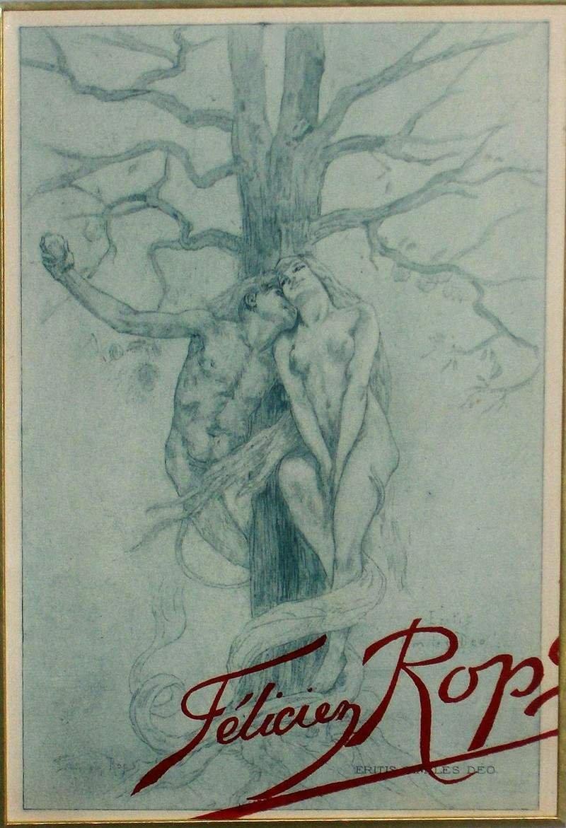 Дьявол и Ева в саду Эдема.