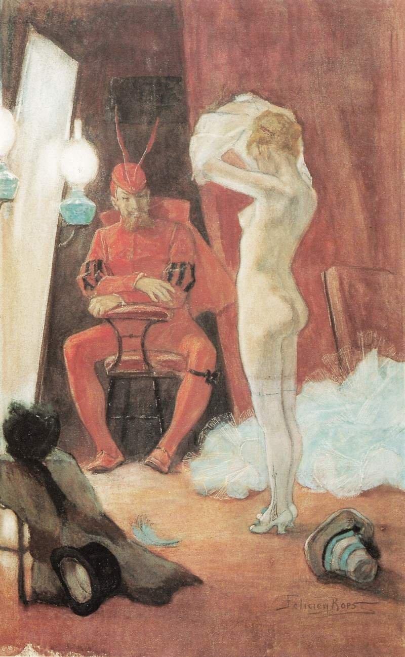 За кулисами. 1878 г. Акварель.24,8 x 16,5 см. Частная коллекция