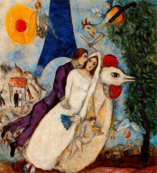 Обрученные и Эйфелева Башня, 1913 г.wikiart.org
