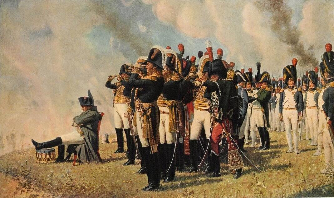 Наполеон Бонопарт с генералами во время боя