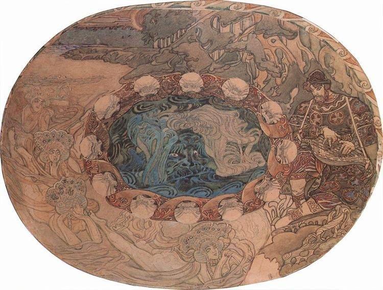 Михаил Врубель. Садко, 1899 г. Эскиз майоликового блюдаwikiart.org