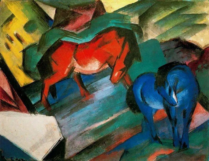 Франц Марк.Красный и синий конь1912 г. Городская галерея в доме Ленбаха, Мюнхен