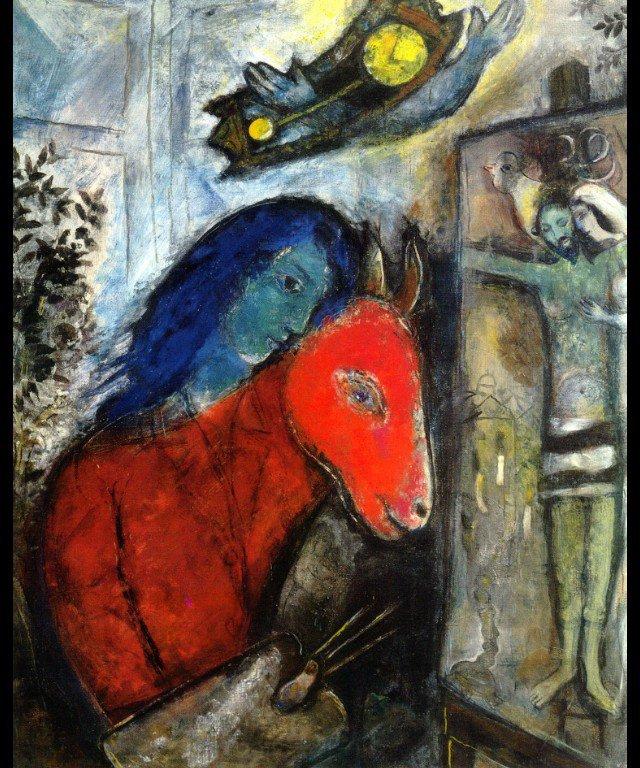 Марк Шагал. Автопортрет с часами перед распятием 1947 г. wikiart.org