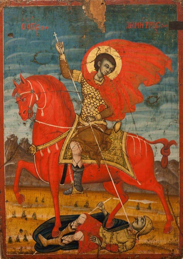 Икона «Святой Дмитрий Солунский на коне». XVII век. Албанский музей средневекового искусства