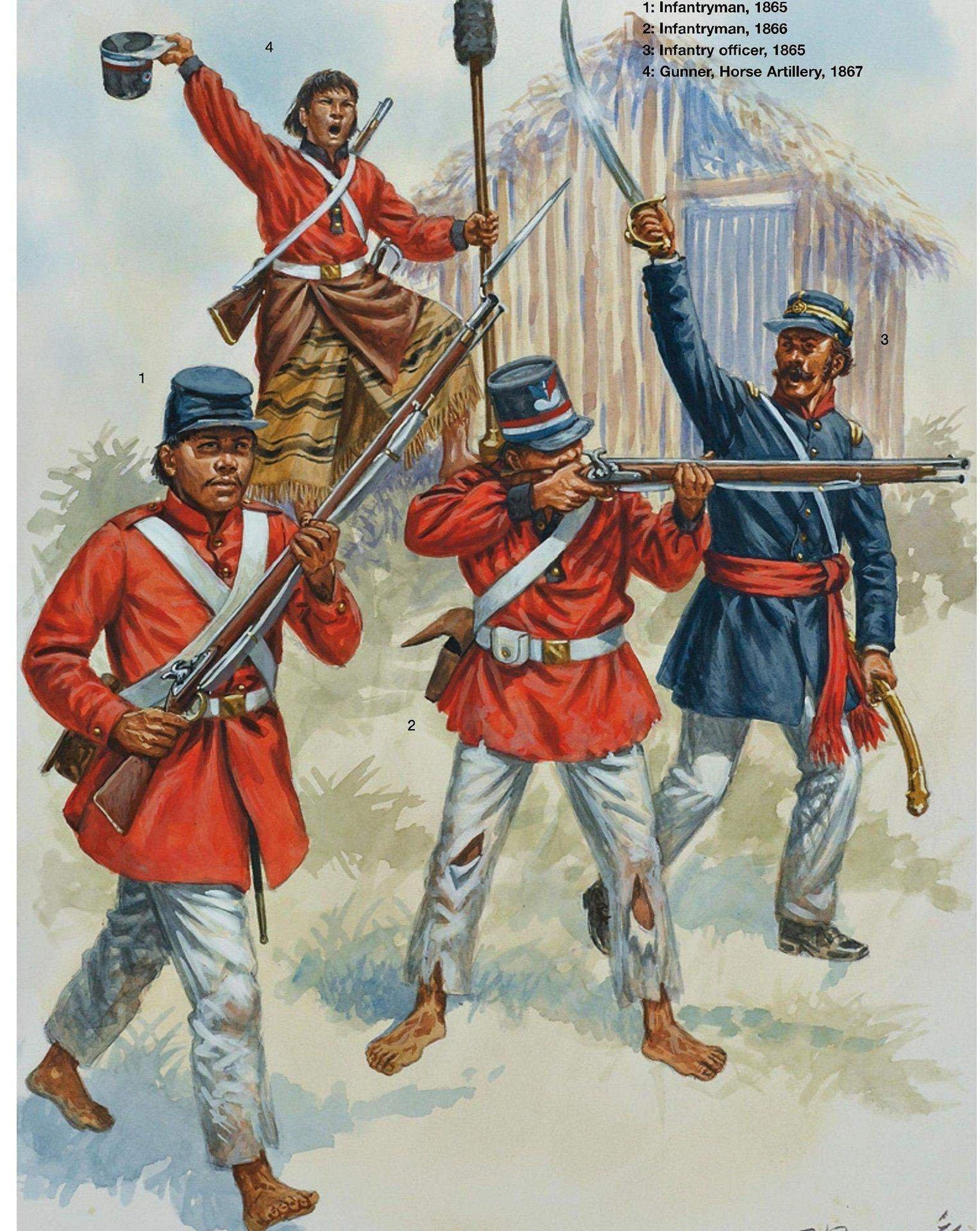 Парагвайская пехота. Художник: Giuseppe Rava
