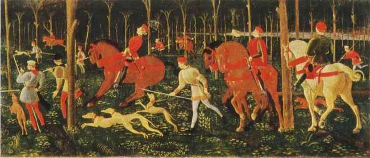 Паоло Учелло. Охота. Фрагмент. конец 1460-х гг. Оксфорд, музей Ашмолеан