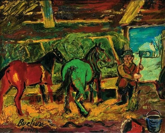 Давид Бурлюк. Красная и зеленая лошади в конюшне.1956 г. частное собрание    wikiart.org