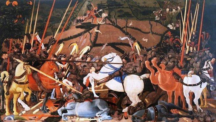 Паоло Учелло.Битва при Сан-Романо. Низвержение с коня предводителей сиенцев Бернардино делла Карда. 1436–1440 гг.Уффици, Флоренция, Италия