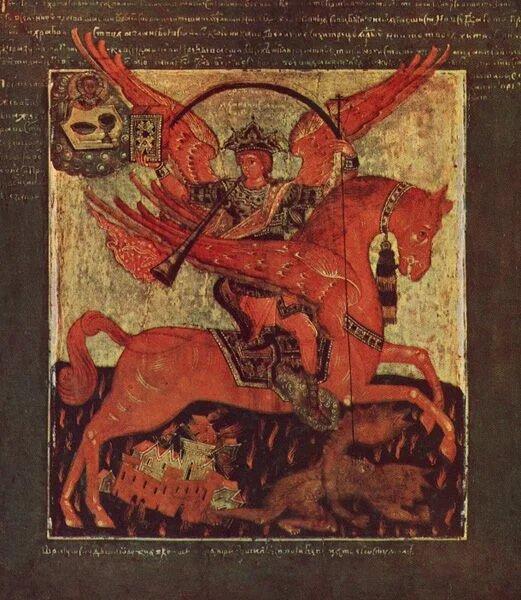 Икона XVII века. Архистратиг, предводитель воинства небесного, Архангел Михаил скачет на красном крылатом коне, трубит и попирает дьявола
