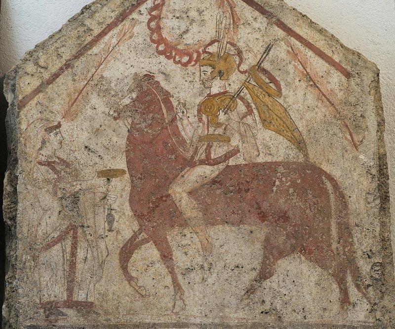 Южноиталийский всадник на фреске IV века до н.э. из Пестума