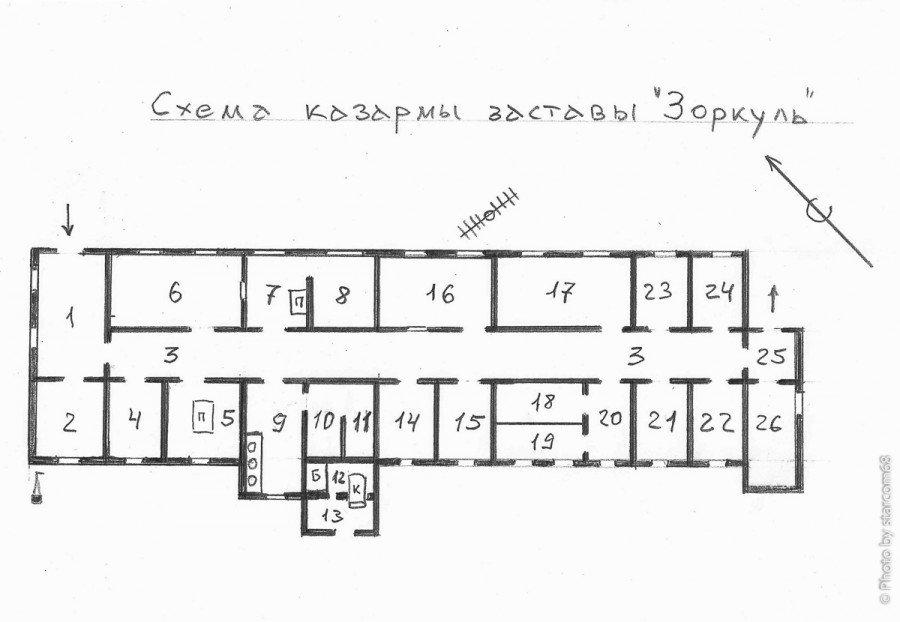 """Схема казармы заставы """"Зоркуль"""". Схема выполнена без обмеров и вне масштаба, пропорции помещений нарушены. В частности коридор получился слишком широкий."""
