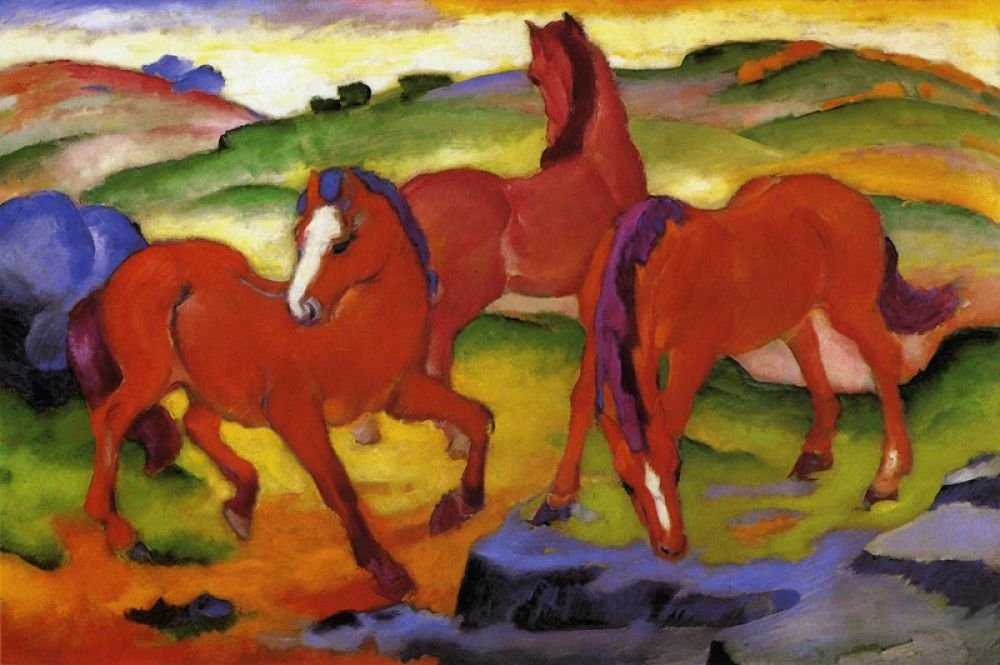 Франц Марк.Красные кони. 1911 г.Художественные музеи Гарварда, Кеймбридж