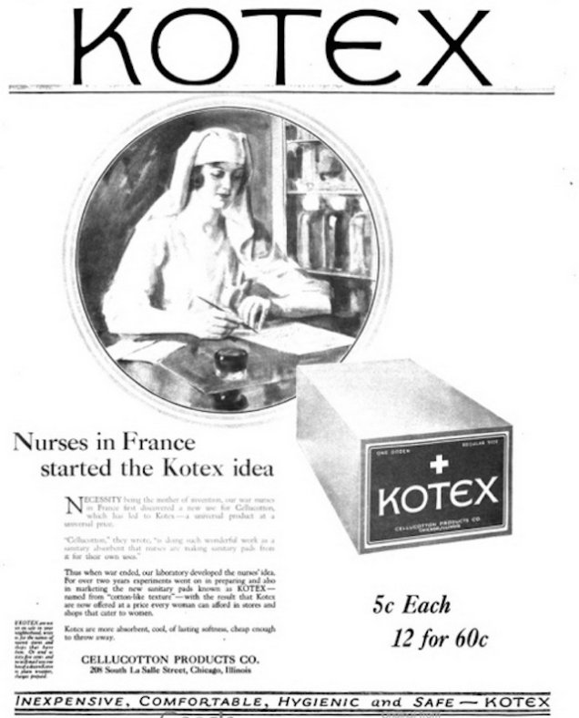 Газетная реклама Kotex, повествующая об истории возникновения товара, начало 1920-х гг.