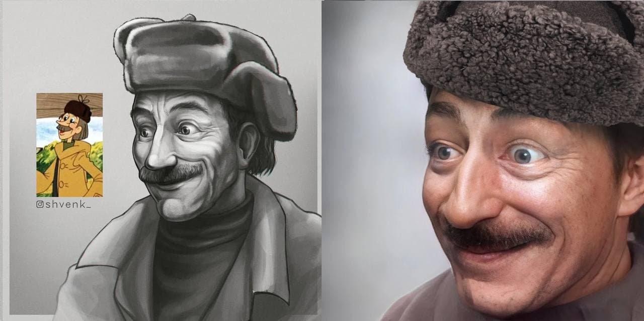 Художник фотографически изобразил героев советских мультфильмов