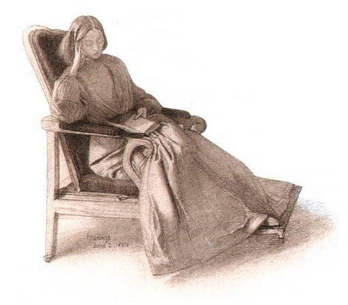 Данте Габриэль Россетти. Элизабет Сиддал. 1854 г. Музей Фицвильяма, Кембридж, Великобритания