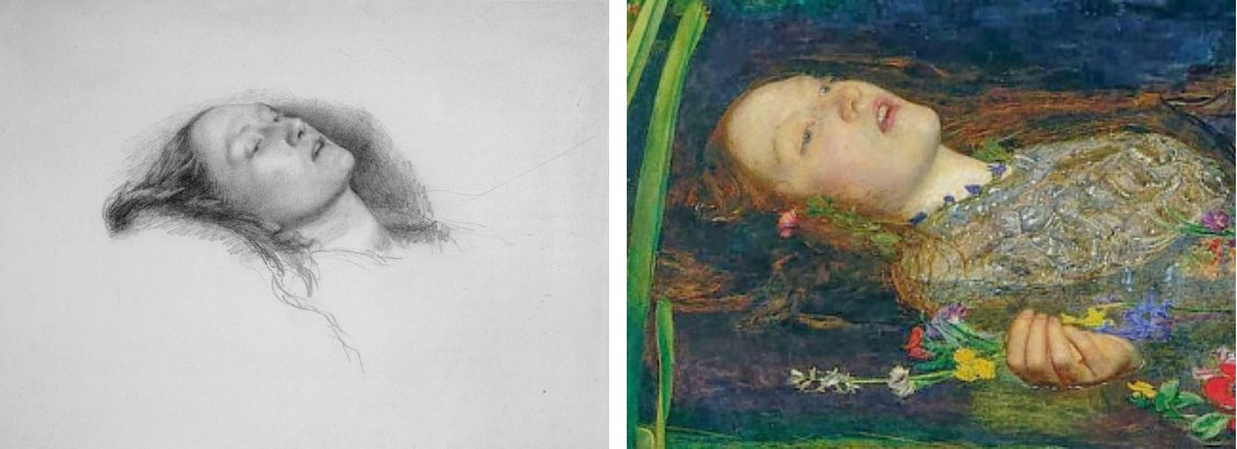 Слева: Элизабет Сиддал изображена на эскизе сэра Джона Эверетта Милле для Офелии. Справа: Элизабет Сиддал на картине в роли Офелии (фрагмент)