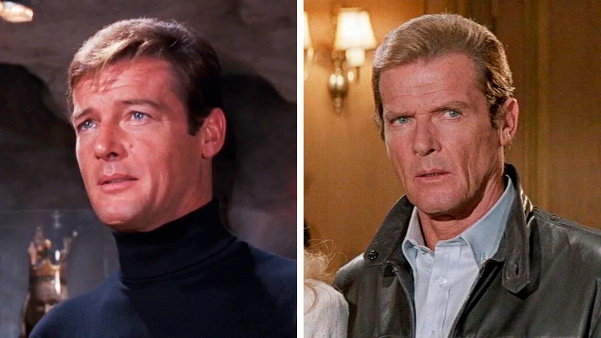 Слева - первое появление Роджера Мура в роли Бонда в фильме «Живи и дай умереть» (1973). А справа - последнее в фильме «Вид на убийство» (1985).