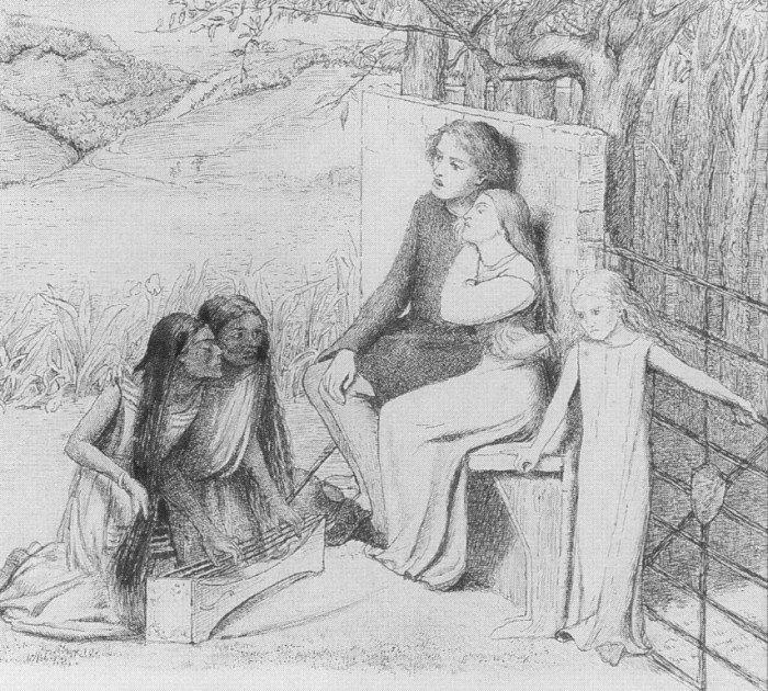 Элизабет Сиддал. Влюблённые, слушающие музыку1854 г.