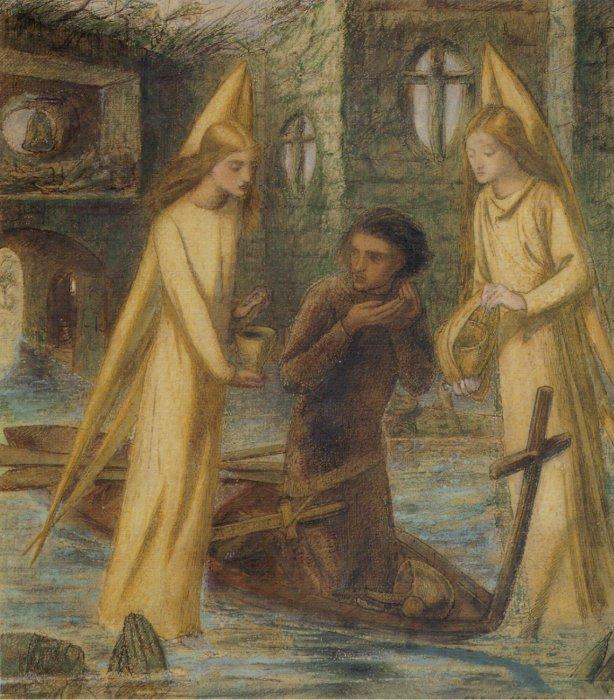 Элизабет Сиддал. Поиски Святого Грааля (Сэр Галахад в Святилище Святого Грааля). 1855–1857 гг.