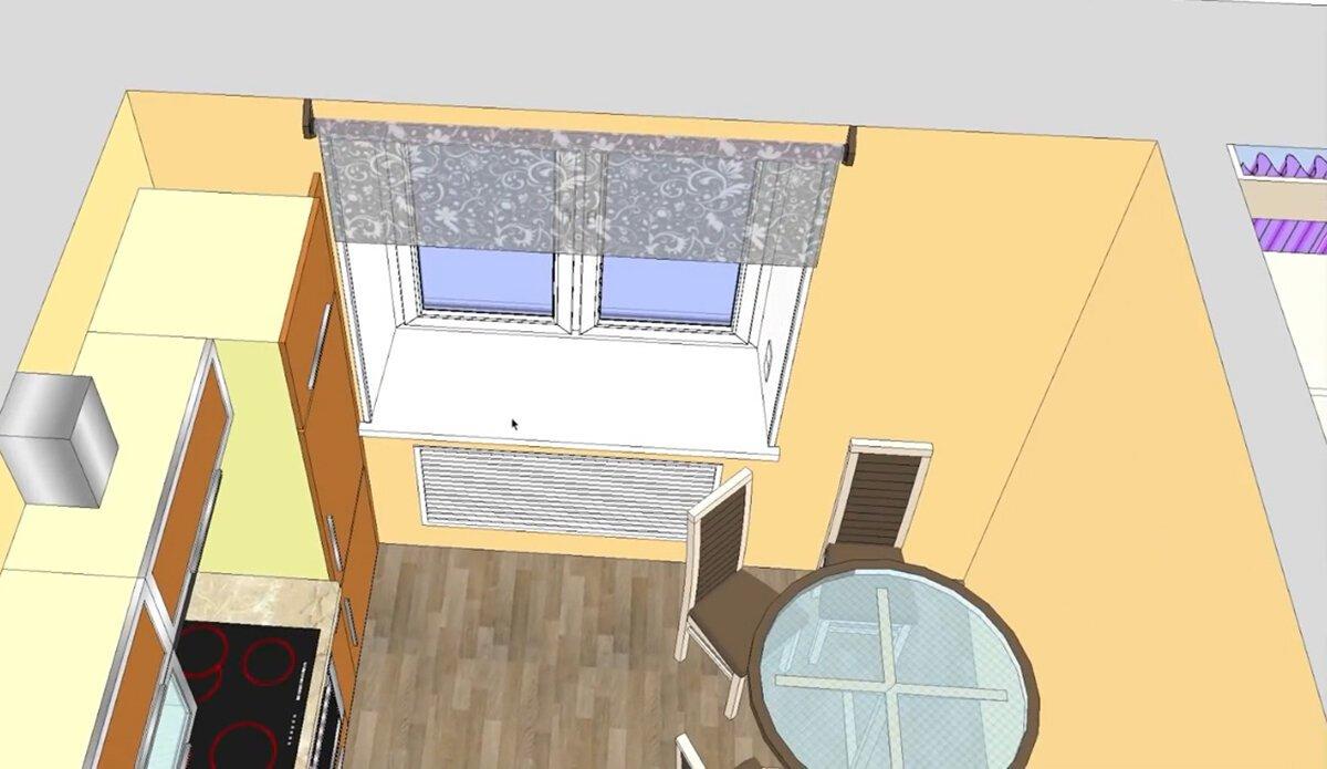 Так помещение кухни должно было выглядеть, если была бы сделана фальшь - стена